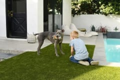 Brian Samuels with K9Grass installed by ForeverLawn Pacific Coast.
