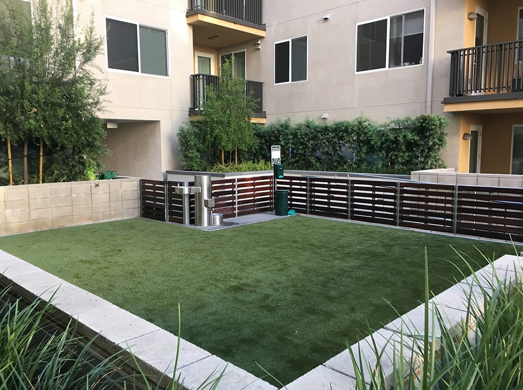 Camden Apartments dog park courtyard with K9Grass installed by ForeverLawn Pacific Coast