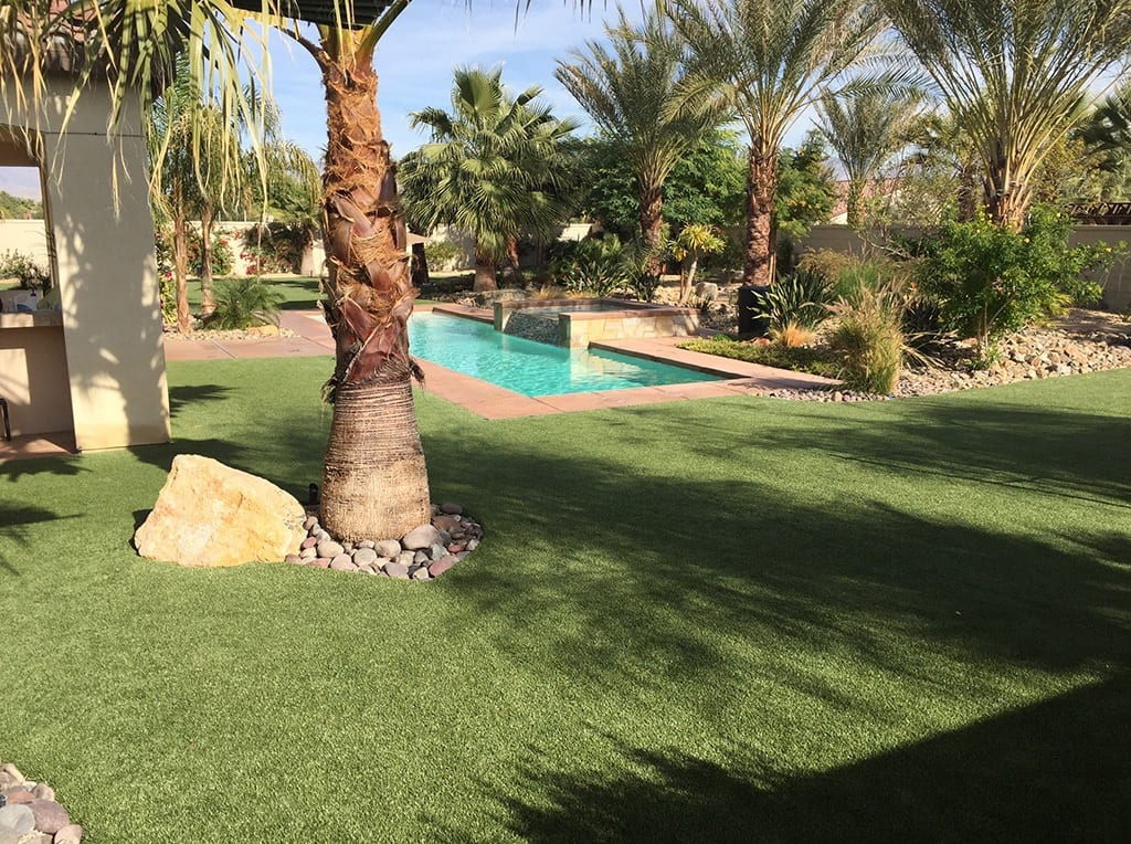 Indio, CA residential landscaped backyard with K9Grass by ForeverLawn and pool