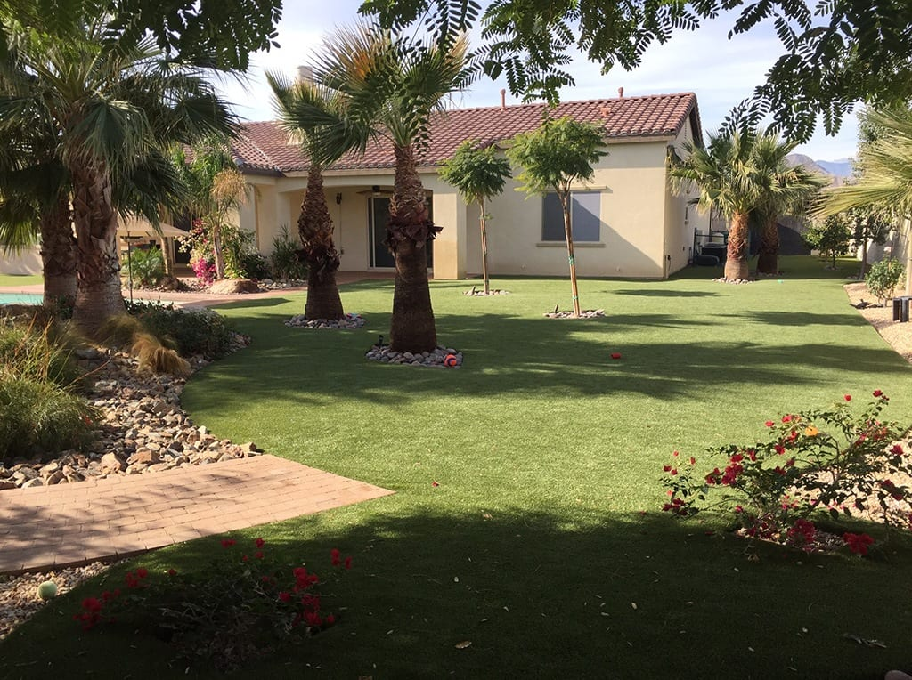 View of Indio, CA residential backyard and home with K9Grass by ForeverLawn
