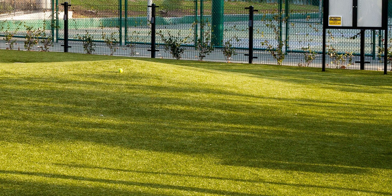 Tennis Ball on K9Grass by the Fence at West Hollywood Dog Park