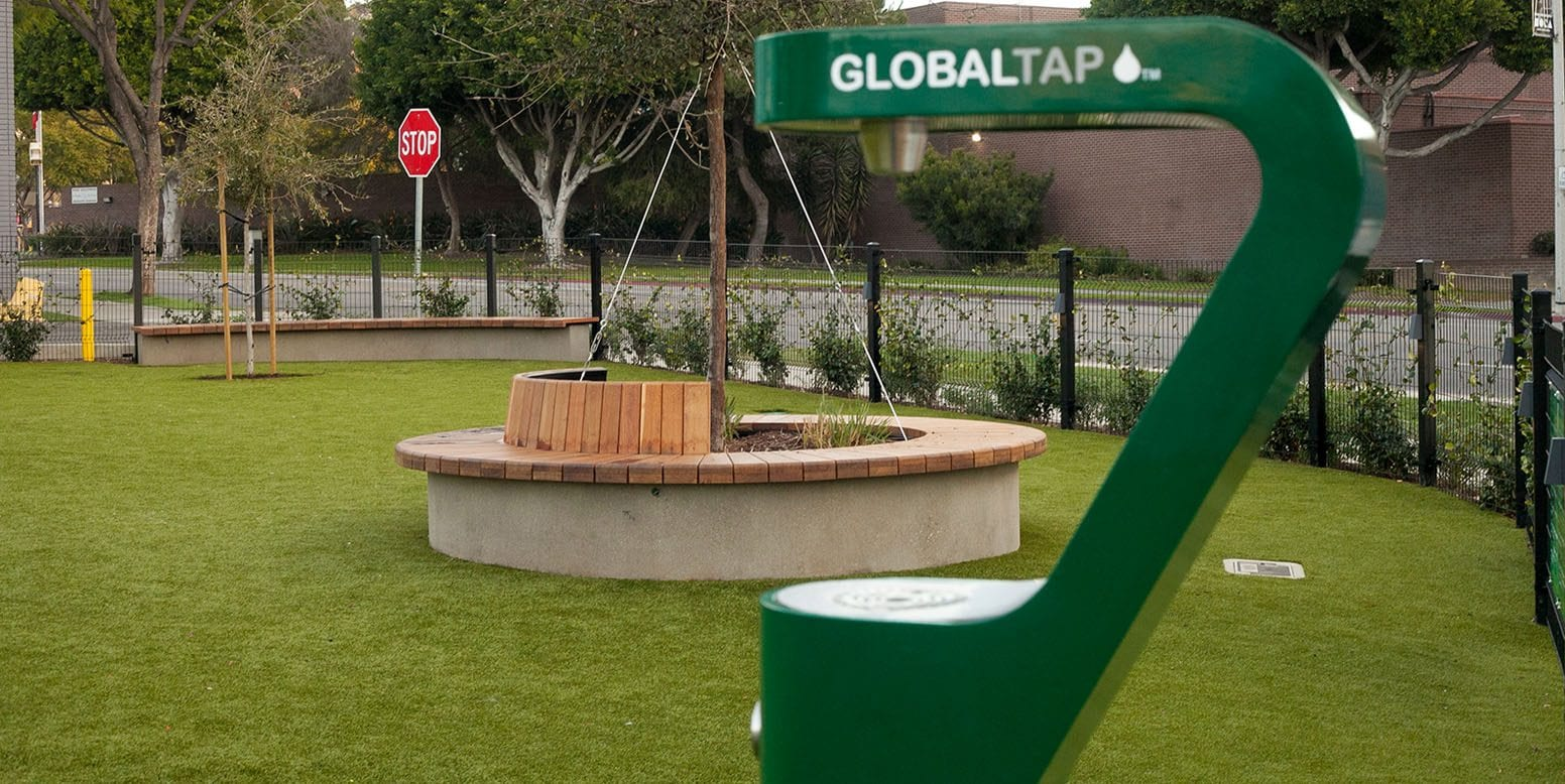 West Hollywood Dog Parks Sitting Area and Water Source