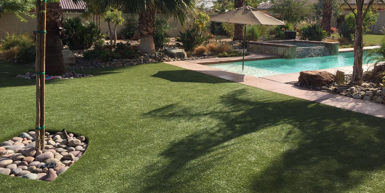 Indio, CA backyard with 8,000 square feet of K9Grass Classic installed by ForeverLawn Pacific Coast