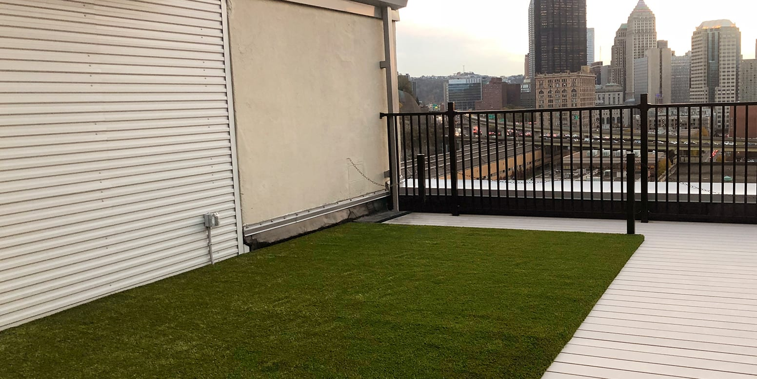 K9Grass artificial turf rooftop installation at 1627 On the Strip in Pittsburgh, PA