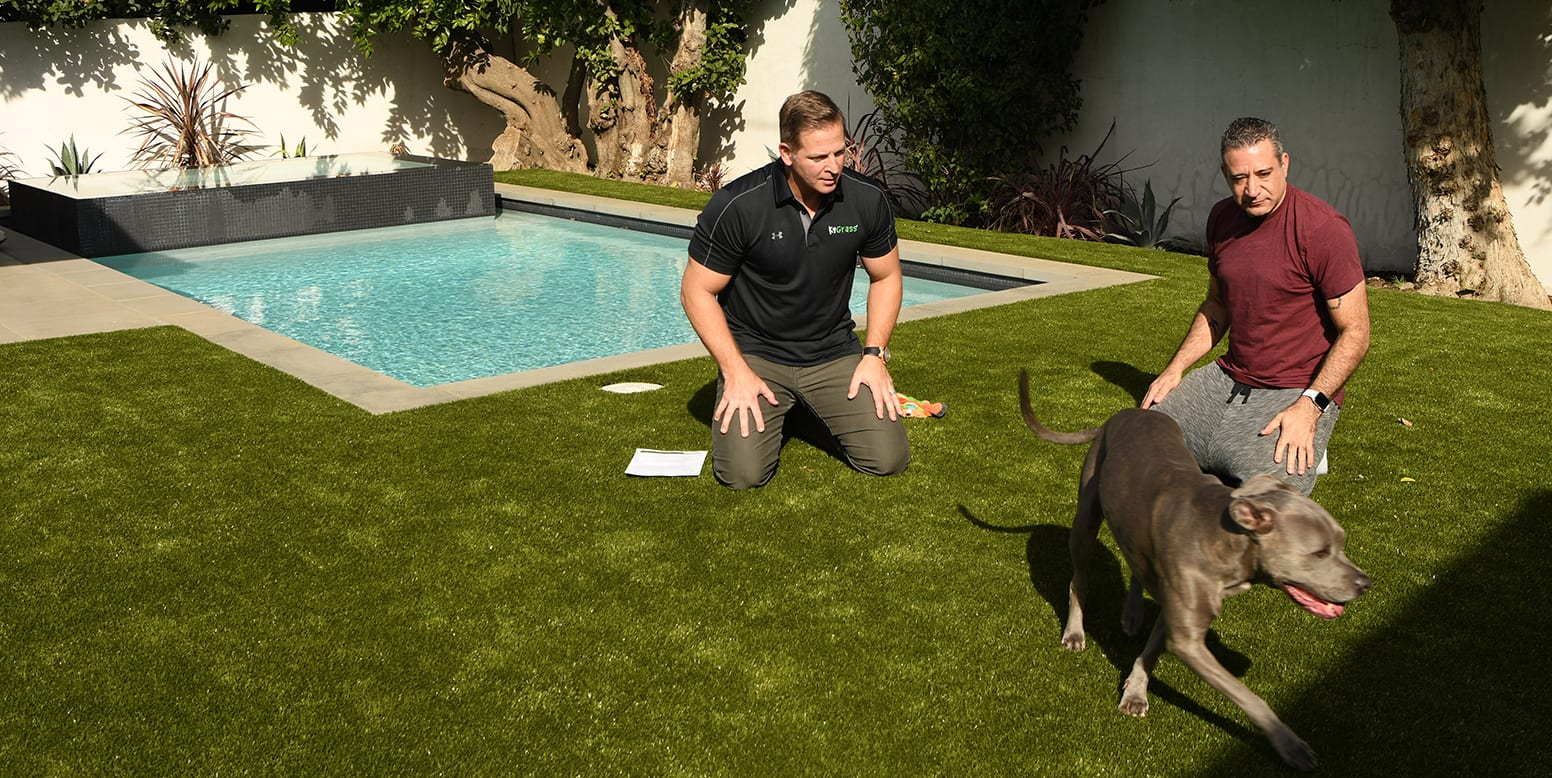 Brian Samuels and Jason Cameron on K9Grass synthetic turf residential backyard in Sherman Oaks, CA