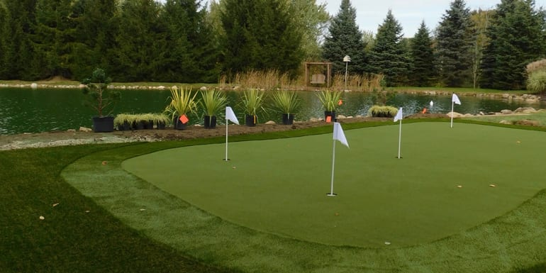 Putting green created with GolfGreens synthetic turf at North Canton, Ohio, residence
